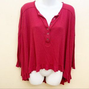 Free People Waffle Long Sleeve Red Top Sz Small